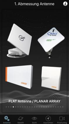 APP SatFinder Antenne wählen